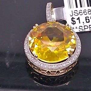 Jewelry - Natural Canary Yellow Diamond Pendant In Solid 10K